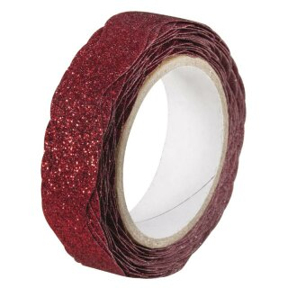 Glitter Tape Wave, 15mm, Rolle 5m, klassikrot