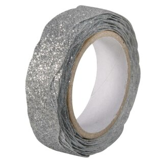 Glitter Tape Wave, 15mm, Rolle 5m, silber
