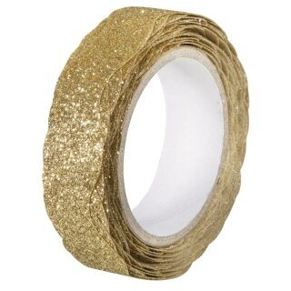 Glitter Tape Wave, 15mm, Rolle 5m, gold