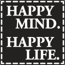 Label: Happy Mind. Happy Life, 50x50mm, 1 Stück