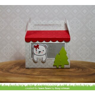 Lawn Fawn, lawn cuts/ Stanzschablone, scalloped treat box winter house add-on