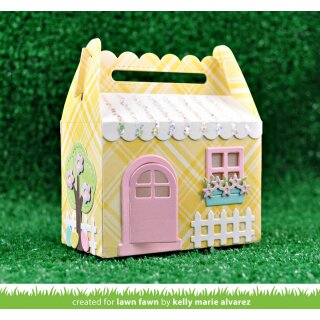 Lawn Fawn, lawn cuts/ Stanzschablone, scalloped treat box spring house add-on