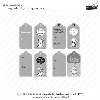 Lawn Fawn, lawn cuts/ Stanzschablone, say what? gift tags