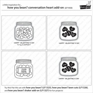 Lawn Fawn, clear stamp, how you bean? conversation heart add-on