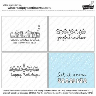 Lawn Fawn, clear stamp, winter scripty sentiments