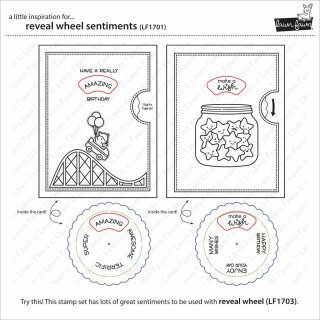 Lawn Fawn, clear stamp, reveal wheel sentiments