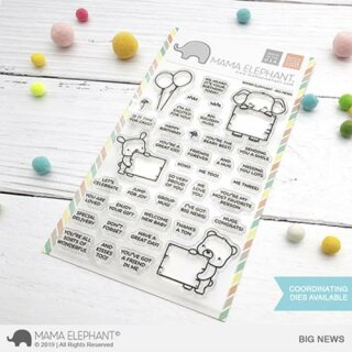 Mama Elephant, clear stamp, Big News