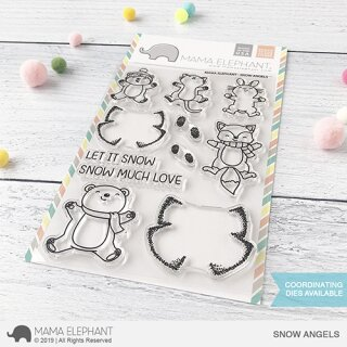 Mama Elephant, clear stamp, Snow Angels