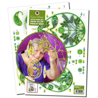 Quilling Template, Paisley Eggs green/yellow Extra Template