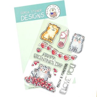 Gerda Steiner Designs, Valentine Cats 4x6 Clear Stamp Set