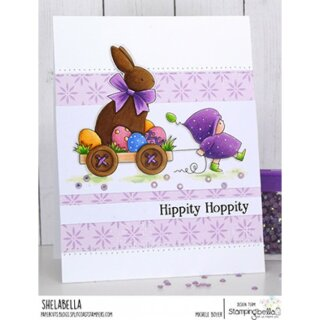Stamping Bella, Rubber Stamp, BUNDLE GIRL WITH A CHOCOLATE BUNNY