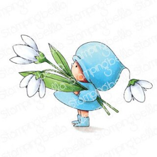 Stamping Bella, Rubber Stamp, BUNDLE GIRL WITH A SNOWDROP