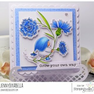 Stamping Bella, Rubber Stamp, BUNDLE GIRL WITH A CORNFLOWER