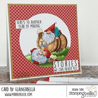 Stamping Bella, Rubber Stamp, TWO GNOMES UNDER A KEG