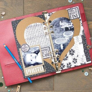 Elizabeth Craft Designs, Cutting Dies / Stanzschablonen, Planner Essentials 20, Half Heart Page Set