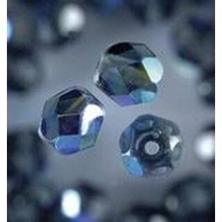Glasfacettperlen rund irisierend ANTHRAZIT 6mm 50 Stück